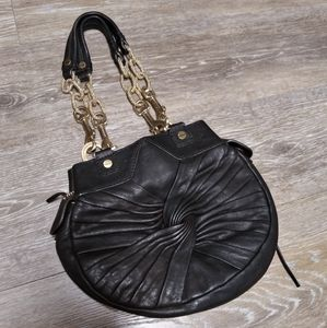 Alexis Hudson Black Leather Gold Chain Purse